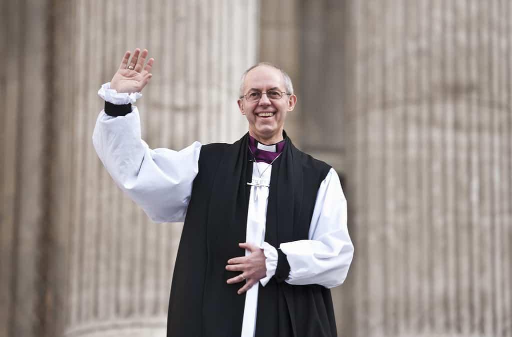 Archbishop waving