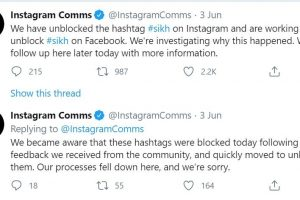 Instagram apologises as it lifts block on Sikh hashtag